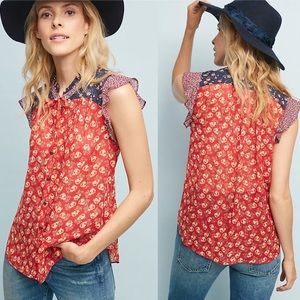 Anthropologie | Meadow Rue Floral Prairie Blouse
